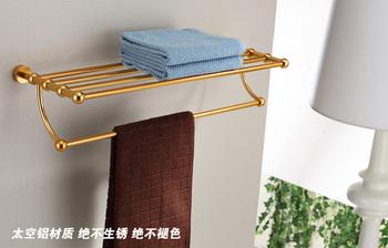 Luxury hottest golden Aluminum shower caddy rack bathroom shelf towel holder towel shelf hotel accessories