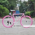 7-Speed Fixed Gear Bike With Coaster Brake, 700X23C Wheel,49cm Pink High Tensile Steel Frame,High Quality Derailleur, HUANAN-PK