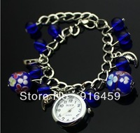 Free shipping  fashion Multicolor lovely The family name flower circular coloured glaze quartz analog bracelet gift watch