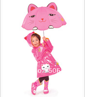 30% off ! Free Shipping wholesale high quality lovey luckycat kids rainwear raincoat +rian boots+umbrella+backpack full 4pcs set