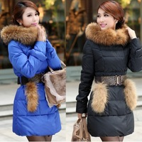 Hot sale! 2013 autumn and winter large luxury fur collar slim medium-long formal down coat female down jackets for women fashion