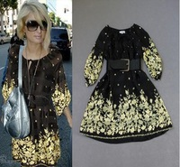 2013 New Europe Celebrity Fashion Half Puff Sleeves Gold Flower Printed With Belt Plus Size Silk Dress Loose Dress