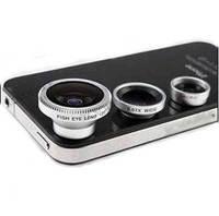 3in1 phone Universal lens kit set Fisheye Lens + Wide Angle + Micro Lens photo Kit Set for iPhone 4 4S 5
