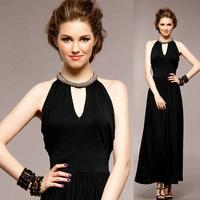 2014 Fashion women evening dress black handmade beaded slim long party formal dress one-piece dress banquet sexy prom dress