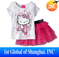 Wholesale 5set/lot Summer 2013 Kids Clothes 100% Cotton Hello Kitty Cartoon Clothing Girl Short Sleeve T-Shirt+Short Shirt