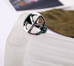 Free Shipping Vintage Silver Peace Sign Ring Charm Ring(China (Mainland))
