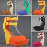 2013 summer women's shoes fashion candy color block decoration strap wedges sandals 5-color 5.5-10 size