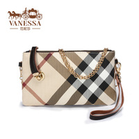 2014 day clutch fashion chain plaid genuine leather bags women's handbag coin purse Free shipment