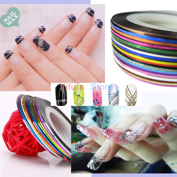 Free Shipping Rolls Striping Tape Line Nail Art Decoration Sticker Decal Metallic Yarn 10 Color Mixed Glue Adhesive Stick Strip(China (Mainland))