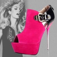 Kvoll metal color block decoration open toe deep mouth single shoes fashion high-heeled shoes platform super high thin heels