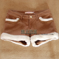 Free Shipping LA CHAPELLE 2011 winter wool shorts berber fleece roll up hem boot cut jeans