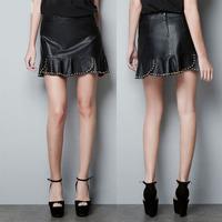 free ship Design studio rivet decoration irregular hemline PU short skirt bust skirt black plus size available