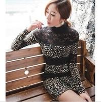 Free Shipping New autumn one-piece dress slim hip stripe sexy one-piece dress