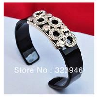 2013 new platinum plated classic Fashion silver circle round black Retro Vintage Bracelet/bangle F&H Jewelry Austria SWA Crytal