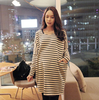 2014spring maternity clothing maternity t-shirt lengthen casual long-sleeve maternity one-piece dress clothes for pregnant women