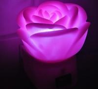 free shipping 10pcs/lot Led wall lamp plug in pink rose hot-selling powder rose nightlight led small night light