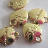 wholesle bracelet connector charms Fashion bj double faced scale gold heart shaped bracelet necklace label accessories