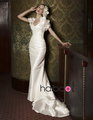 2013 Free shipping v neck A Line hand made flower taffeta Sweep wedding dresses wedding grom(China (Mainland))