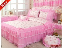 Beautiful romantic red flower Lace bedspread princess bedding set queen/Full  pink girls comforter duvet cover set bed skirts G1
