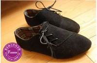 2013 new Korean side lace nubuck leather flat pointed chic temperament shoes