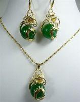 green jade pendant necklace earring set Kettn