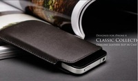 DHL Free Shipping!200pcs/lot Slim Genuine Cow Leather Case for iPhone 4S,Leather Pouch for mobilephone