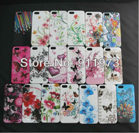 For iPhone 5 5G hard plastic rose flower /heart love flower /butterfly flower plastic case 10pcs/lot