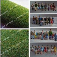 1:100  Model Train Painted Figures & 2pcs Grass Mat 0.5x0.5m yellow&green HO