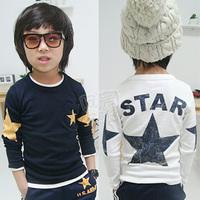 2013 spring five-pointed star boys clothing girls clothing child long-sleeve T-shirt basic shirt tx-1551