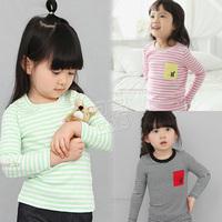 2013 spring stripe pocket girls clothing baby child long-sleeve T-shirt basic shirt tx-1372