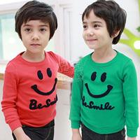 2013 spring brief smiley boys clothing girls clothing child long-sleeve T-shirt basic shirt tx-1528