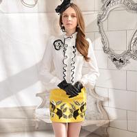 free shipping 2013 spring White flower ruffle slim long-sleeve shirt