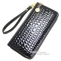 (Free shipping)Japanned leather women's long design wallet wallet women's clutch women's handbag zipper bag