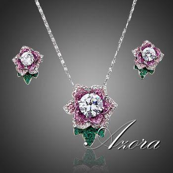 Азора эксклюзивный платины позолоченные Stellux австрийский хрустальный цветок серьги стержня и ожерелье комплект TG0021