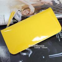 (Free shipping)2013 japanned leather zipper bag ultra-thin wallet women's long design wallet women's card holder clip wallet