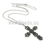 Free Shipping high quality Fashion Hot Sale iron chain zinc alloy cross pendant antique silver color plated rhinestone Necklace