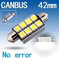 4pcs 42mm 8 SMD 5050 Pure White Dome Festoon CANBUS OBC Error Free Car 8 LED Light Lamp Bulb V4 12V Interior Lights C5W Led