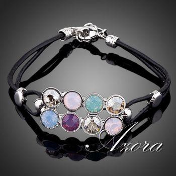 AZORA Unique Design Platinum Plated Stellux Austrian Crystal Strand Bracelet TS0013
