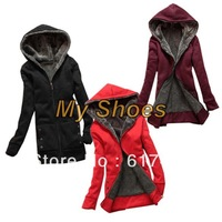 Free shipping New Fashion Casual Thicken outerwear women Hoodie Coats tops Jacket Black, Red, Wine Red 3278