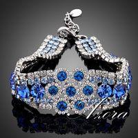 Platinum Plated Full of Blue Stellux Austrian Crystal Flower Design Bracelet FREE SHIPPING!(Azora TS0014)