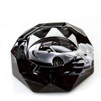 Fashion sports car Octagonal100mm crystal ashtray, home decoration