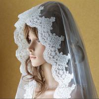 "1T White/Ivory Elegant Lace Edge Bridal Mantilla Wedding Veil Cathedral 118"" Length Free Shipping"