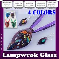Handcraft Fashion Murano Glass Necklace Earring Sets Dichroic Foil Foliiform Pendant European Jewelry 4 Colors 4sets/lot #14351