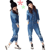 Free Shipping 2013 New Arrival Denim Jumpsuit For Women Detachable At Back With Long Sleeve Spring Autumn Casual Jeans Trousers