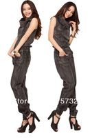 Free Shipping 2013 New Arrival Fashion Jeans Jumpsuit Women 2013 Sleeveless Romper Female Denim  One piece Suspenders Trousers