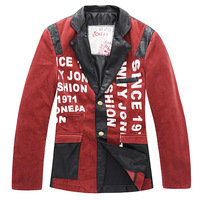 korean style 2013 fashion designer mens  corduroy patchwork letter print  suit male casual red blazer jacket coat for men