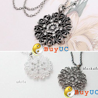 Girls Decorative Bohemia Pattern Hollow Flower Sweater Pendant Necklaces Chain
