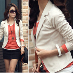free shipping 2013 spring women's casual slim blazer short jacket M-XXL2209 (white,pinks,coffee,black,Navy blue(China (Mainland))