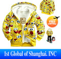 2013 Children clothing Free shipping cute boy and girl lovely Cartoon Spongebob comfortable flannel hood for autumn and winter