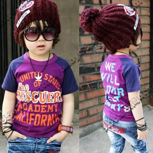 Free shipping wholesale/retail 2014 summer colored drawing fight sleeve boys clothing girls clothing short-sleeve T-shirt(China (Mainland))